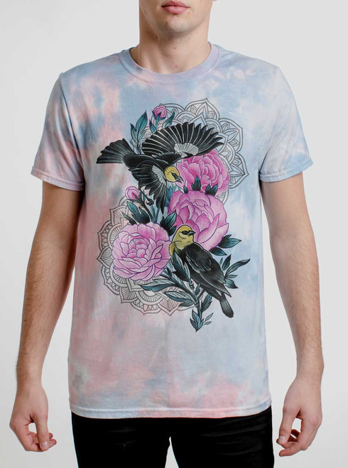 Black Birds - Multicolor on Coral Mens Tie Dye T Shirt