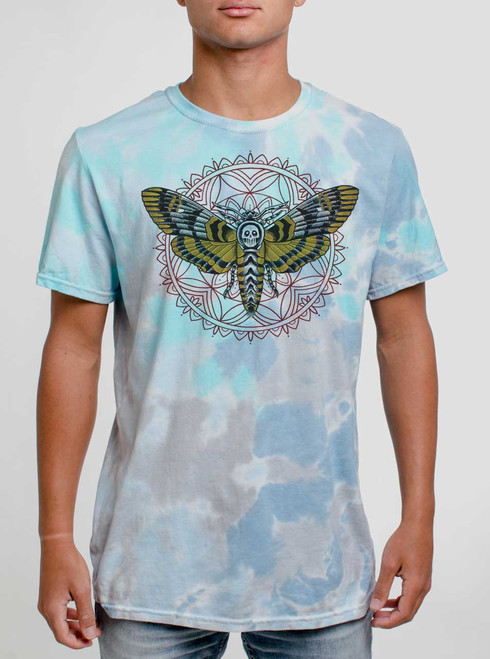Death Head - Multicolor on Turquoise Mens Tie Dye T Shirt