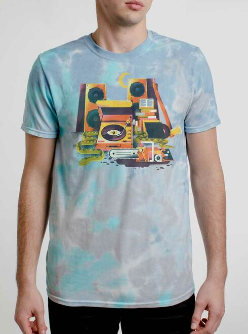 Death Metal - Multicolor on Turquoise Mens Tie Dye T Shirt