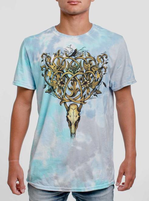 Deer Skull - Multicolor on Turquoise Mens Tie Dye T Shirt