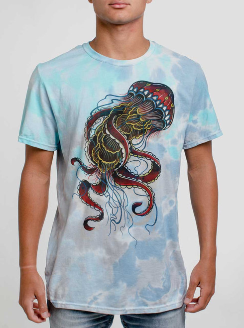 Jelly - Multicolor on Turquoise Mens Tie Dye T Shirt
