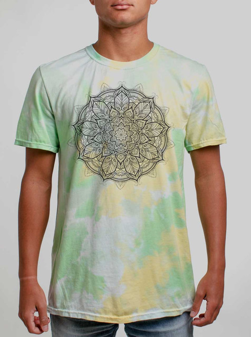 Mandala - Black on Lemon Lime Mens Tie Dye T Shirt