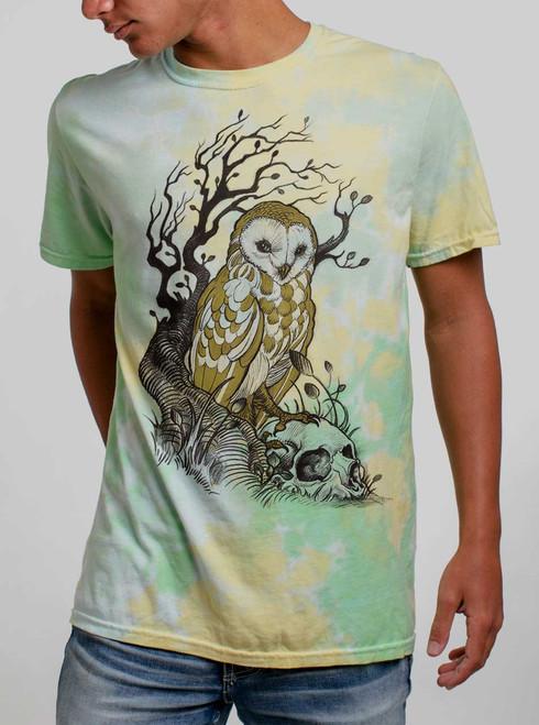 Owl and Skull - Multicolor on Lemon Lime Mens Tie Dye T Shirt