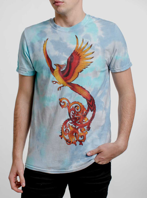 Phoenix - Multicolor on Turquoise Mens Tie Dye T Shirt