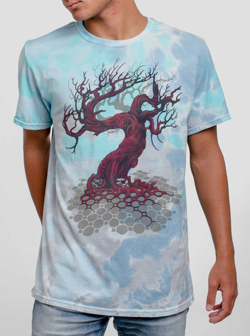 Reclamation - Multicolor on Turquoise Mens Tie Dye T Shirt