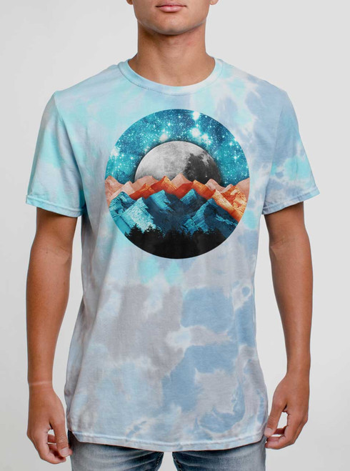 The Moutains - Multicolor on Turquoise Mens Tie Dye T Shirt