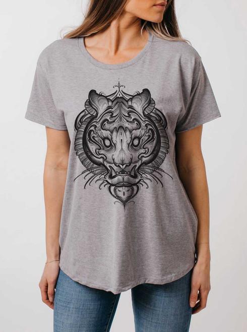 Big Cat - Multicolor on Heather Grey Womens Boyfriend T Shirt