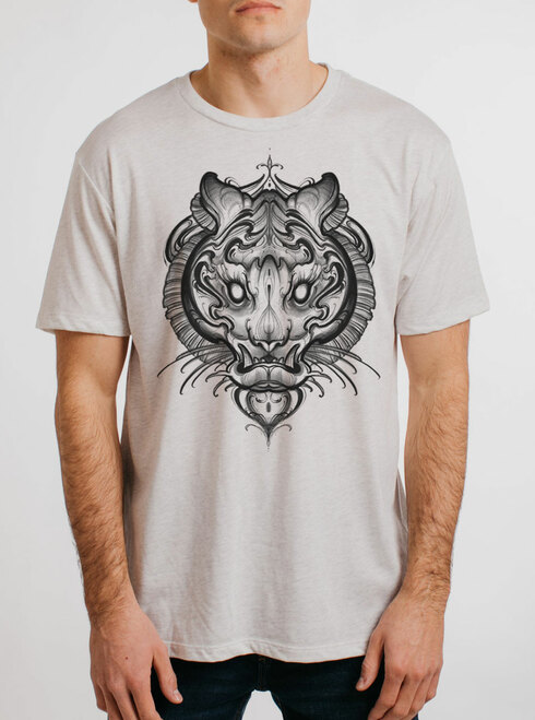 Big Cat - Multicolor on Heather White Triblend Mens T Shirt