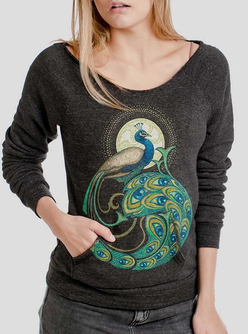Peafowl - Multicolor on Charcoal Triblend Women's Maniac Sweatshirt