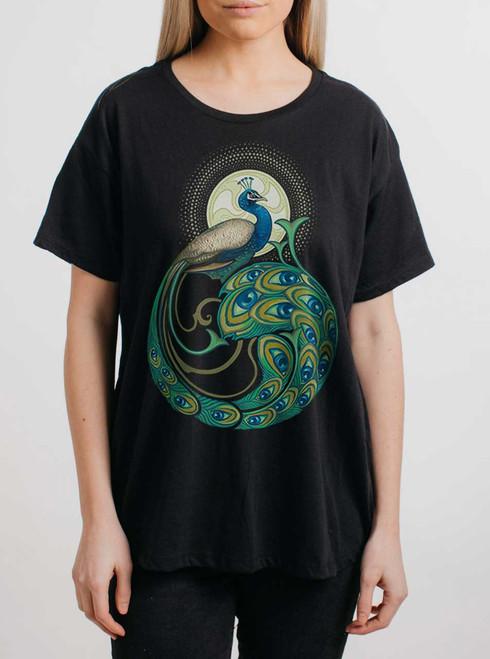 Peafowl - Multicolor on Black Womens Boyfriend T Shirt
