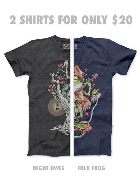 Night Owls & Folk Frog - Unisex T-Shirt Pack