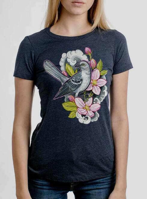 Apple Blossoms - Multicolor on Heather Navy Junior Womens T-Shirt