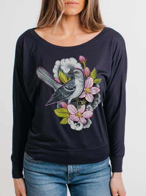 Apple Blossoms - Multicolor on Navy Women's Long Sleeve Dolman