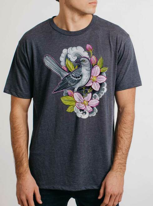 Apple Blossoms - Multicolor on Heather Navy Triblend Mens T Shirt