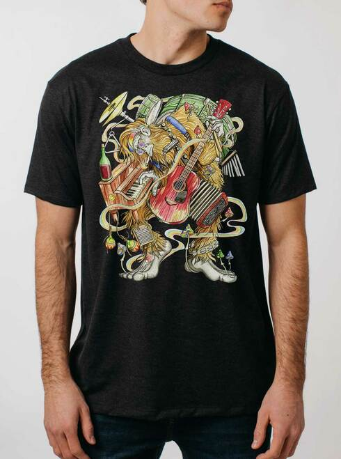 One Man Band - Multicolor on Heather Black Triblend Mens T Shirt