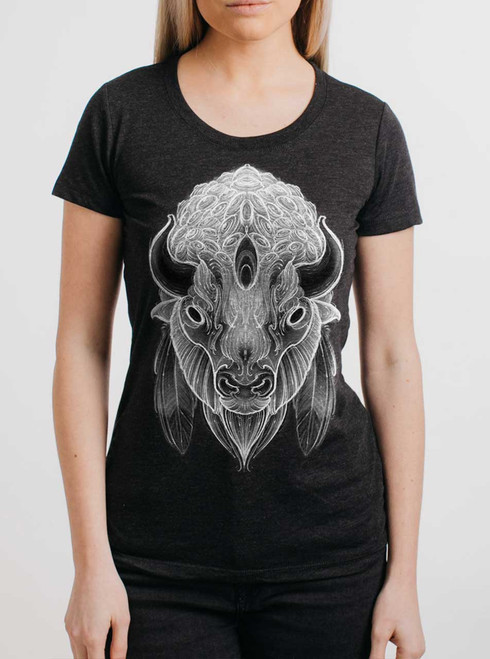 White Buffalo - Multicolor on Heather Black Triblend Womens T-Shirt