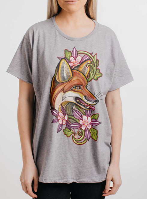 Fox - Multicolor on Heather Grey Womens Boyfriend T Shirt