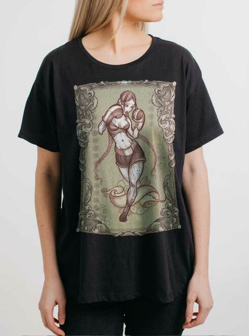 Lady Rogue - Multicolor on Black Womens Boyfriend T Shirt