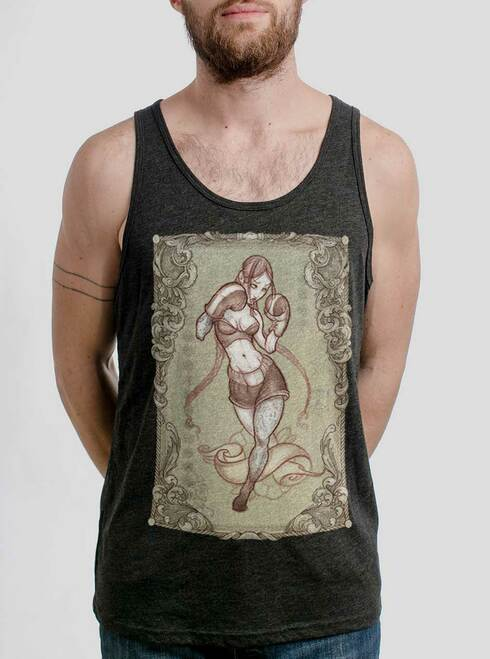 Lady Rogue - Multicolor on Heather Black Triblend Mens Tank Top