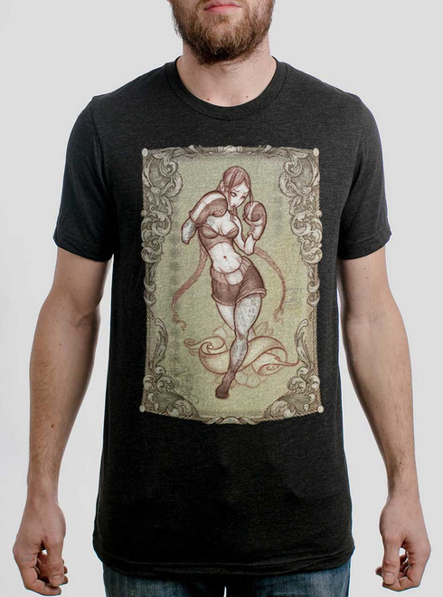 Lady Rogue - Multicolor on Heather Black Triblend Mens T Shirt