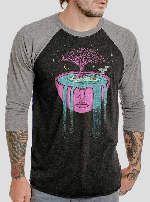 Overflow - Multicolor on Heather Black and Grey Triblend Raglan
