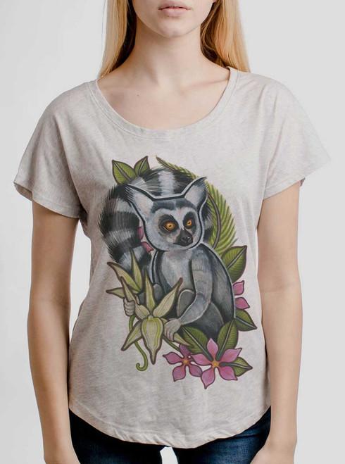 Lemur - Multicolor on Heather White Triblend Womens Dolman T Shirt