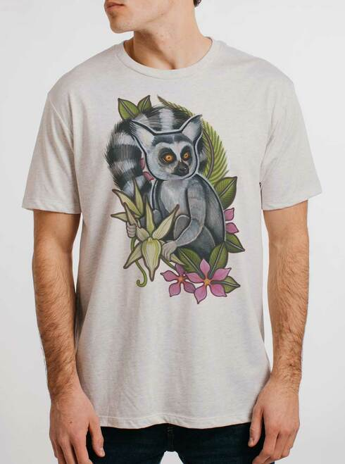 Lemur - Multicolor on Heather White Triblend Mens T Shirt