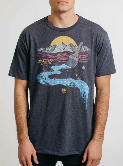 Naturally Creative - Multicolor on Heather Navy Triblend Mens T Shirt