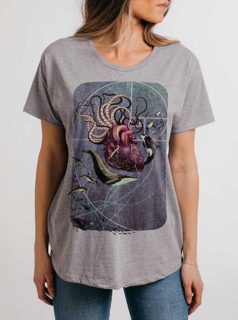 Sea Change - Multicolor on Heather Grey Womens Boyfriend T Shirt