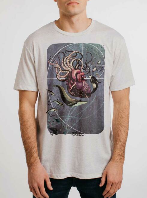 Sea Change - Multicolor on Heather White Triblend Mens T Shirt