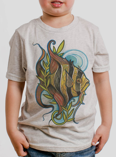 Angelfish - Multicolor on Heather White Triblend Youth T-Shirt