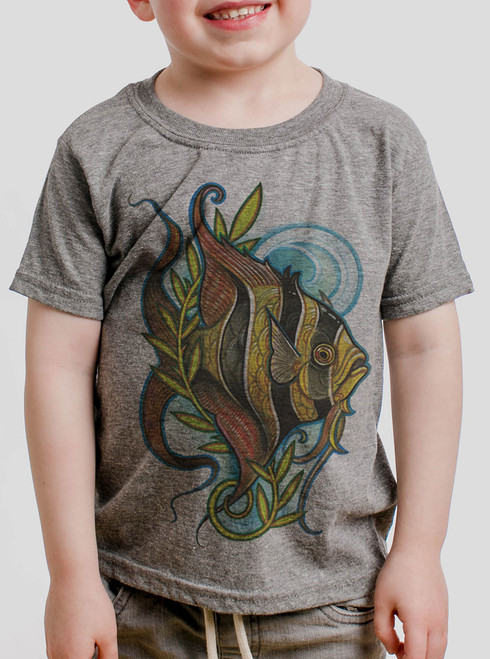 Angelfish - Multicolor on Heather Grey Toddler T-Shirt