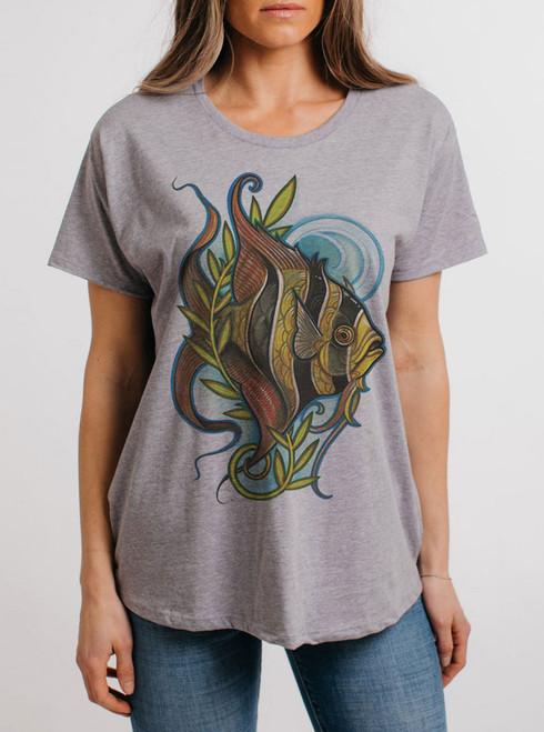 Angelfish - Multicolor on Heather Grey Womens Boyfriend T Shirt
