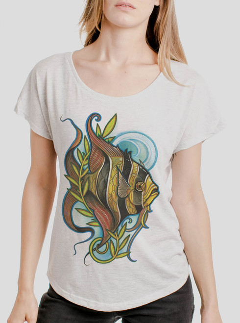 Angelfish - Multicolor on Heather White Triblend Womens Dolman T Shirt
