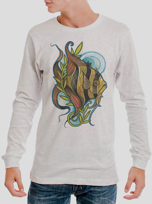 Angelfish - Multicolor on Heather White Men's Long Sleeve
