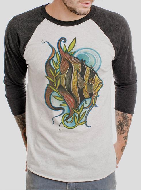 Angelfish - Multicolor on Heather White and Black Triblend Raglan