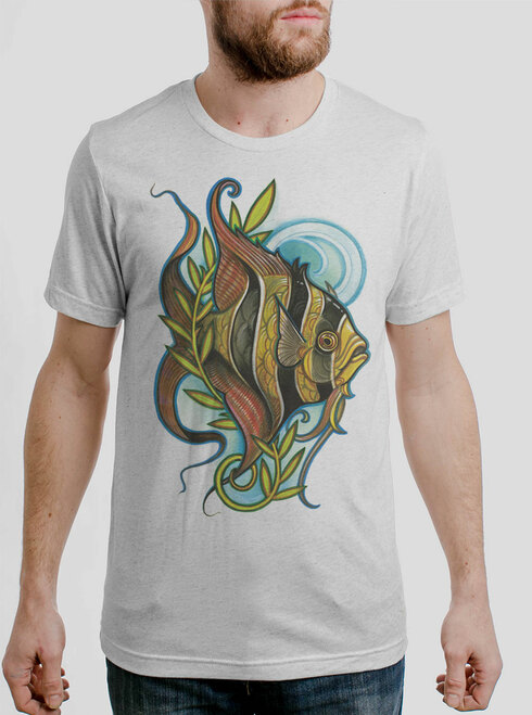 Angelfish - Multicolor on Heather White Triblend Mens T Shirt