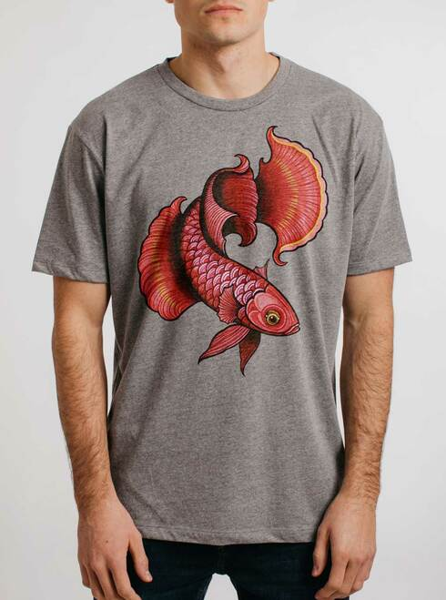 Betta Fish - Multicolor on Heather Grey Triblend Mens T Shirt