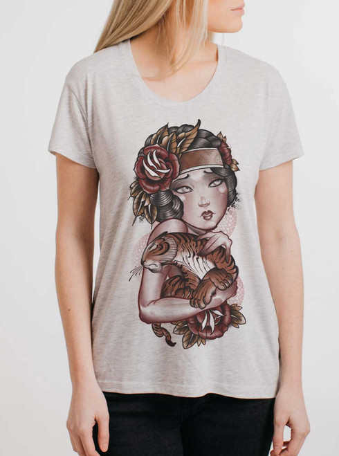 Lady Mabel - Multicolor on Heather Oatmeal Women's Relaxed Fit T Shirt