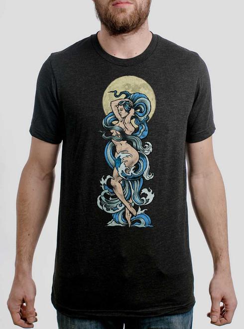 Moon Goddess - Multicolor on Heather Black Triblend Mens T Shirt