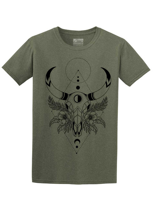 Cow Skull - Heather Military Green Unisex T-Shirt