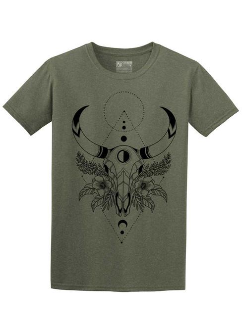 Cow Skull - Heather Military Green Unisex T-Shirt