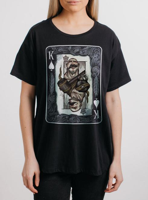 King - Multicolor on Black Womens Boyfriend T Shirt