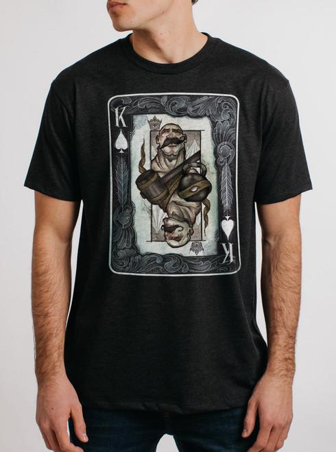 King - Multicolor on Heather Black Triblend Mens T Shirt