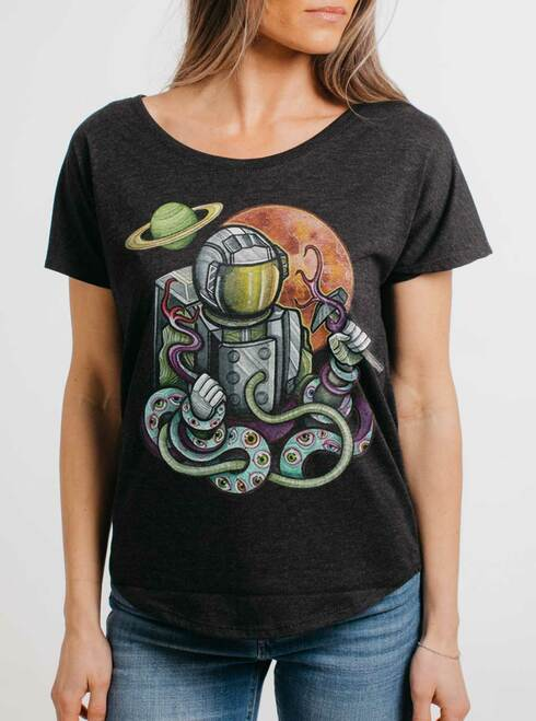 Astro Fight - Multicolor on Heather Black Triblend Womens Dolman T Shirt