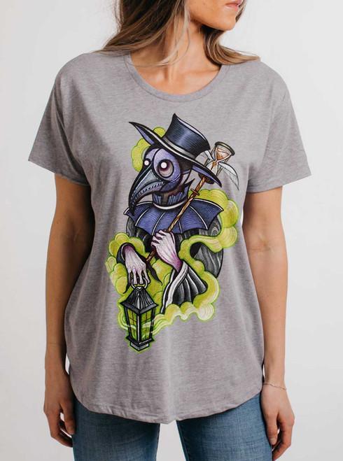 Plague Doctor - Multicolor on Heather Grey Womens Boyfriend T Shirt