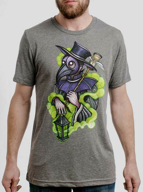 Plague Doctor - Multicolor on Heather Grey Triblend Mens T Shirt
