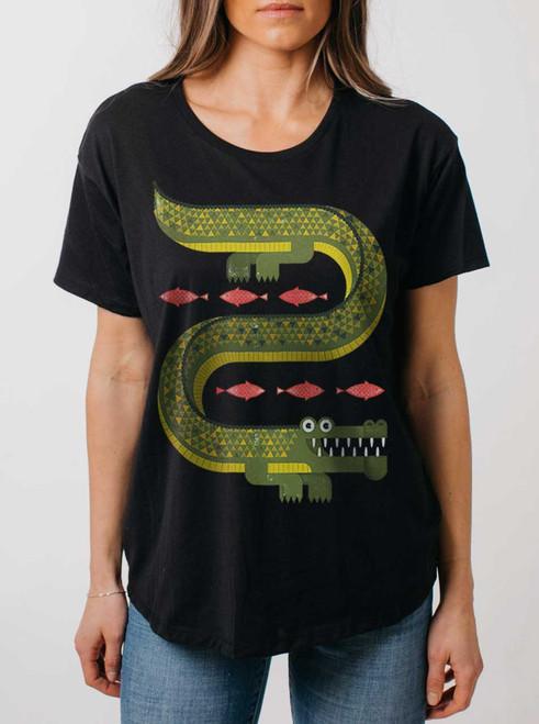 Gator - Multicolor on Black Womens Boyfriend T Shirt