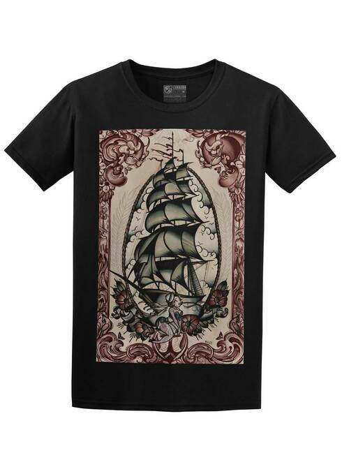 Clipper Ship - Black Unisex T-Shirt