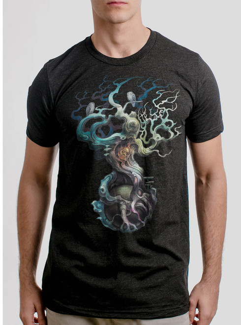 Heart of the Matter - Multicolor on Heather Black Triblend Mens T Shirt